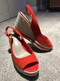 Red suede slingback wedge heels -size 6.5