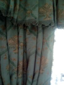 Hand made interlined curtains with matching valance and trim