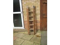 wooden triple ladders