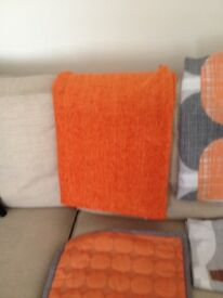 Orange/grey Next double bedding/throw/lamp