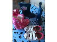 Size 8 kids shoes - wellies, peppa pig, Clark's flashing lights trainers
