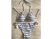 White and blue stripes bikini set - size 8/8 - brand new