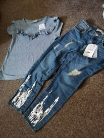 Girls jeans and T-shirt set