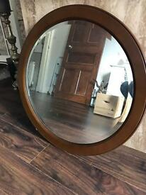 Vintage oval wooden mirror (very heavy piece !)