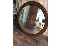 Vintage oval wooden mirror (very heavy piece !)