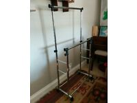 Double Hanging Rail with Wheels - Chrome