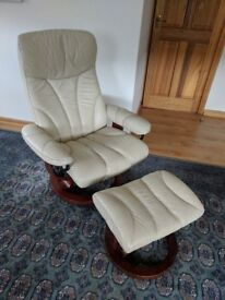 Ekornes Stressless Swivel / Recliner and Footstool in Cream Leather