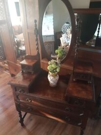Antique Dressing table with stool and chest