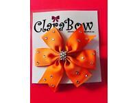 ClaraBow Orange Bow with Diamanté Detailing