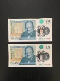 Two £5 notes - AK47