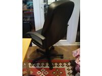 Office Black leather Look rotatable chair