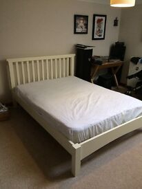 Ikea white double bed frame with headboard