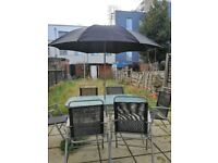 OUTDOOR GLASS TABLE + SUNSHADE + 6 CHAIRS
