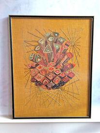 Vintage Retro 1950/60's Wool Work Geometric Art Picture Wood Frame (46 x 58cm)