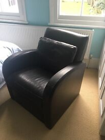 2 x brown leather armchairs plus one matching footrest