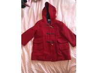 💥 Jojo Mama Bébé Super Red Duffle Coat. Age 2-3+. Used but great..