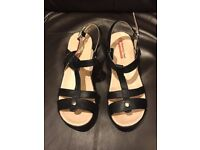 Black wide fitting wedge sandals SIZE 8