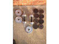 CAST IRON DUMBELL SET FITNESS TRAINING WEIGHT PLATES LIFTING