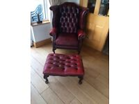Oxblood Leather chesterfield suite, includes 3 seater sofa, wing chair, arm chair & foot stool