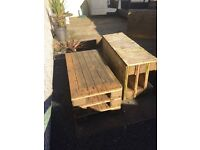 Old pallets made into benches