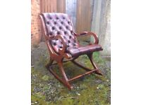 Red leather oxblood Chesterfield rockingchair rocking chair