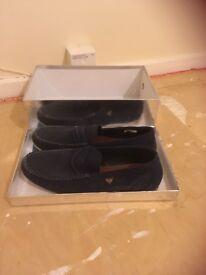Men's velvet navy loafers size 11