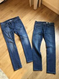 Two pairs of all saints mens jeans w33 l32