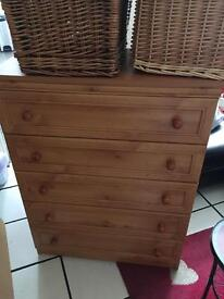 5 drawer chest with 3 x double wardrobes