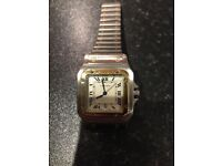 Cartier Santos galbee Steel gold quartz watch pre owned in beautiful condition