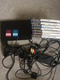 Ps2 slim console with 7 games and controller