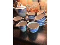 Wedge wood teaset with tea pot sugar and milk jug 6 cups and saucers