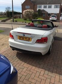 BMW 118d White Convertible, Red leather with Black roof