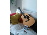Acoustic guitar, brand new capo, cover and picks