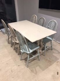 Dining Table and 6 Chairs - Solid Wood Table - Hand Painted - £150