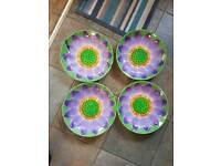 4 Party Bowls with Flower Design
