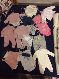 newborn baby girl clothes-new(with free Tommee Tippee feeding bottle and nappies)-smoke free house