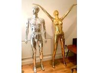 2 Metallic Mannequins, Silver Male & Gold Female