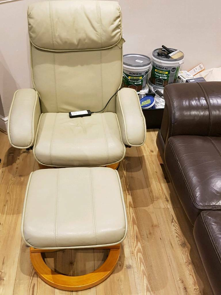 Leather Massage Chair with Stool