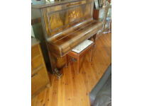 VERY OLD UPRIGHT PIANO WITH BURR WALNUT CASE BY THE TENNESSEE PIANO COMPANY LONDON GREAT ORNAMENT