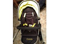 icandy peach all terrain (toucan) with carrycot and car seat adapters if needed.