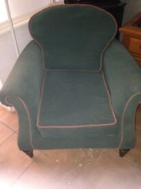 RETRO/VINTAGE STYLE TWO SEATER AND MATCHING FABRIC ARMCHAIR VERY NICE LOOKING ITEMS LOCAL DELIVERY