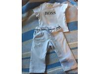 Boys Hugo boss trousers and tshirt 6mnths