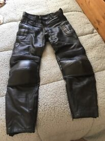 MEN MOTORBIKE LEATHER TROUSERS £10.00