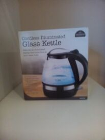 Brand New Messini 1.6L, 2200W, Cordless, Protected, Illuminated Glass Kettle