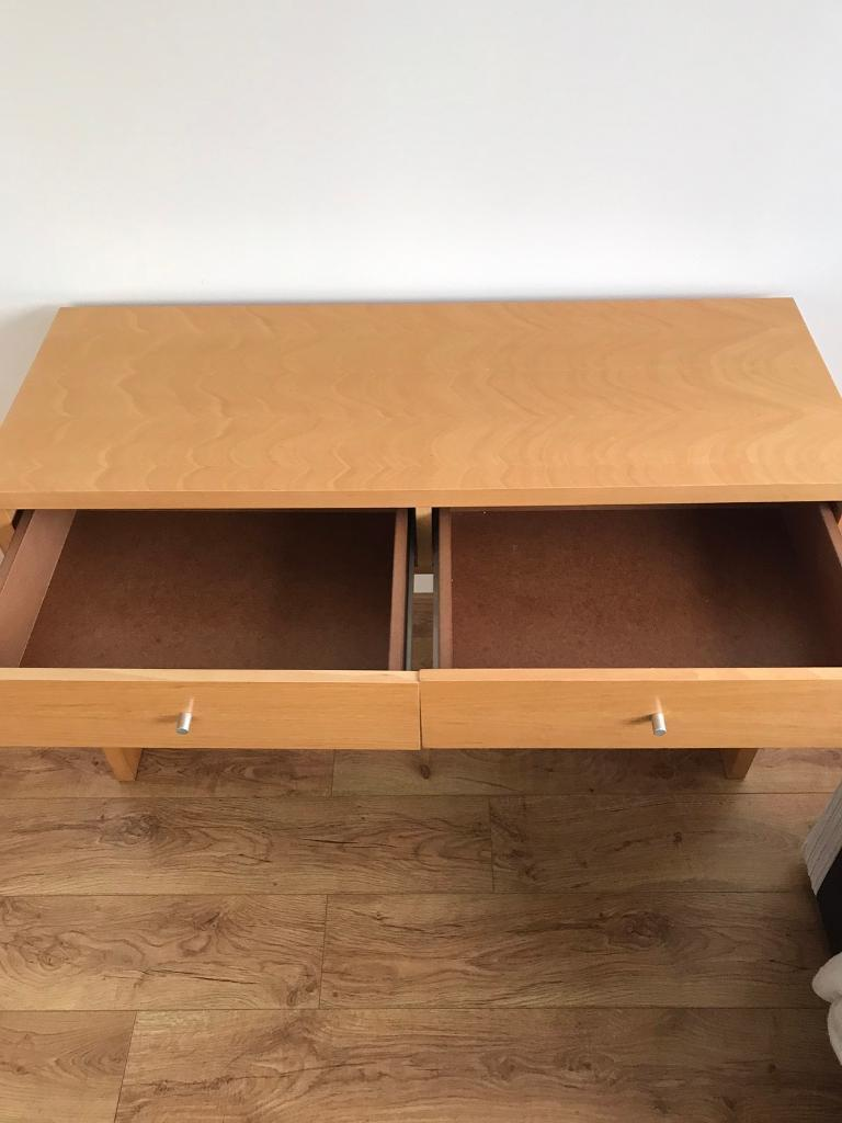 Wooden desk with two drawers