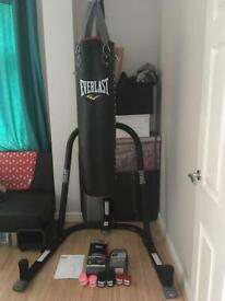 Everlast boxing stand, 4ft bag and accessories
