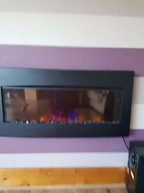 ELECTRIC FIRE WITH REMOTE CONTROL AND FLAME