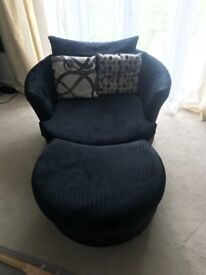 Dfs black swivel chair with footstool