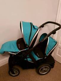 Oyster Max Double Pram/Pushchair with raincover and 2 x cosytoes