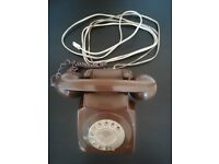 Original & Working 1950's Vintage Telephone with Working Rotary Dial - Oak Brown